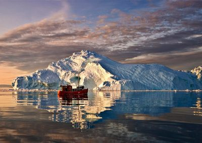 Fishing boat/iceberg reflections